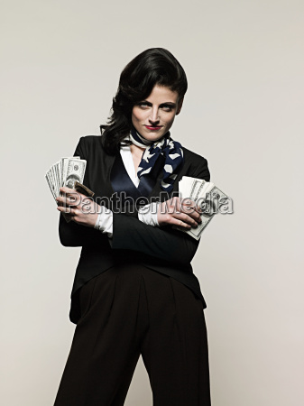 geschäftsfrau, hält, geld - 18647936