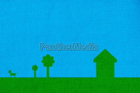 green coloured house with trees and