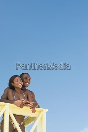couple at beach house