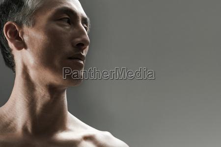 mature man looking away portrait
