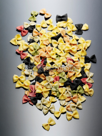 colorful still life of dried farfalle