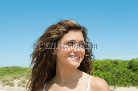 young woman looking away portrait