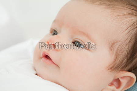 close up of face of baby