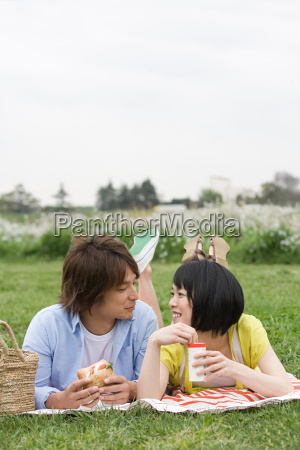 couple having lunch on the grass