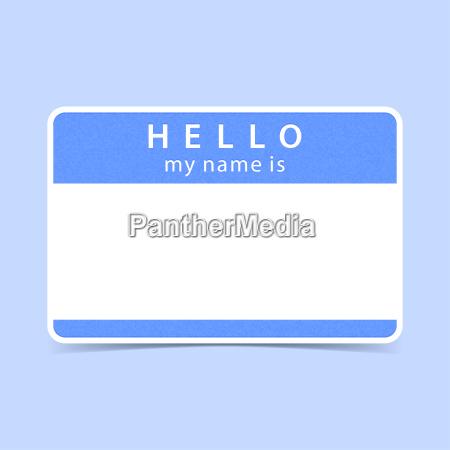 blauer tag aufkleber hallo mein name