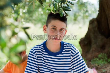 boy wearing striped t shirt portrait