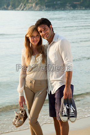young couple on beach portrait