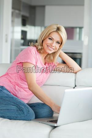 woman using laptop portrait