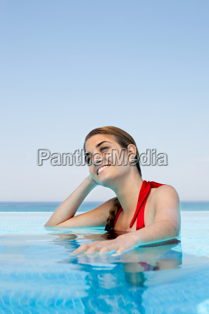 young, woman, in, swimming, pool, , portrait - 18678278