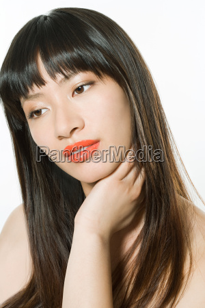 beautiful young woman head shot