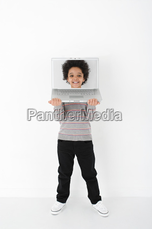 boy with face on laptop