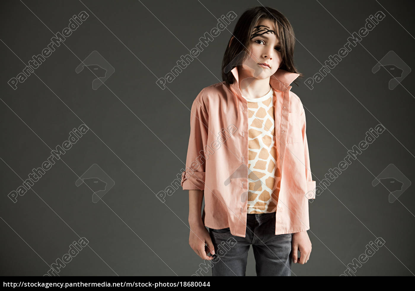 young, boy, wearing, casual, clothes, and - 18680044