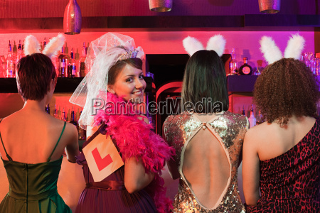 four young women on hen night