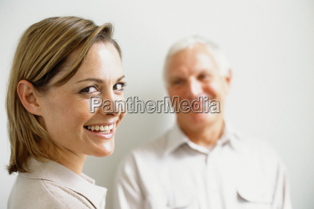 father and smiling daughter