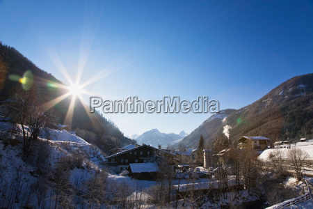 view over snow covered valley in