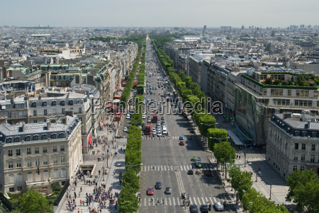 aerial view of champs elysees