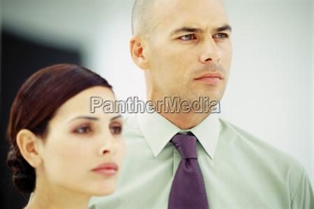 portrait of a businessman and businesswoman