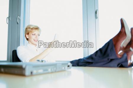 businesswoman relaxing