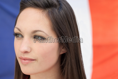 young woman and french flag