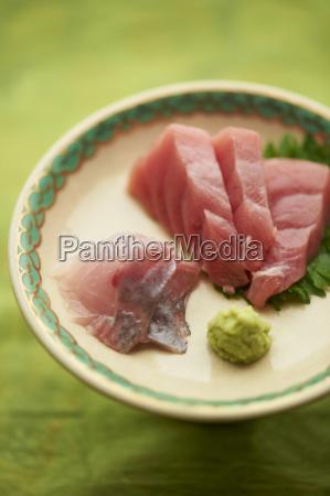 still life of raw sliced fish