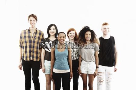 formal studio portrait of six young