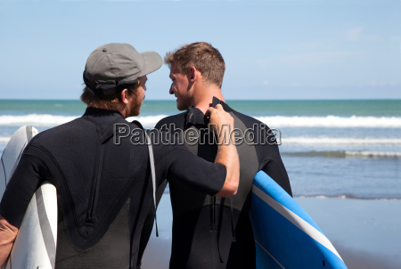 rear view of male surfer checking