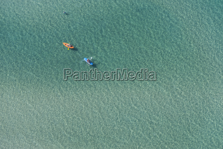 aerial view of two sea kayaks