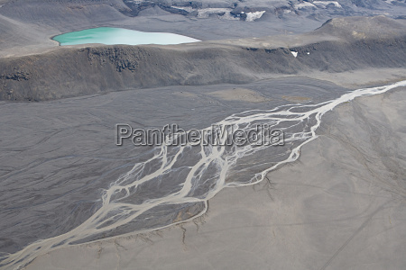 iceland glacial branching riverbed