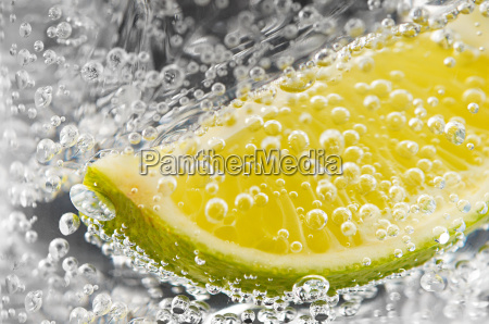 abstract of lime and bubbles in