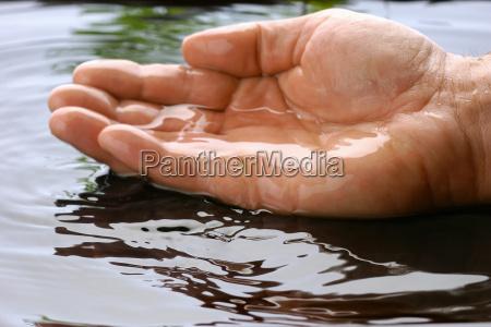 mans hand in pond