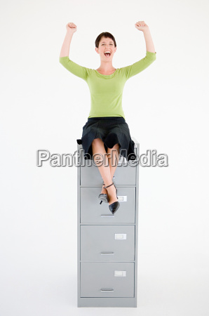 woman sat on top of a