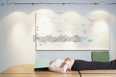 woman sleeping in office