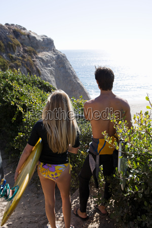 young couple near the sea with