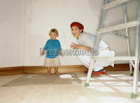 mother and child decorating