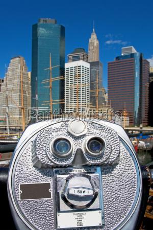 binoculars looking at new york skyline