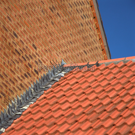 brick wall and tiled roof