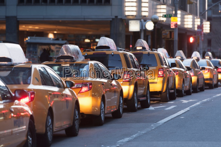 yellow taxis in a row new