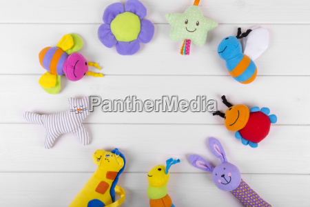 top view with soft baby toys