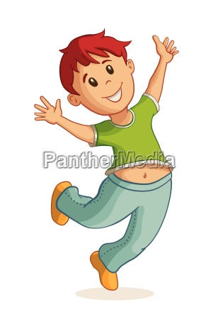 little happy boy jumping vector illustration