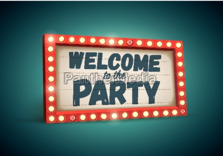 retro welcome to the party light