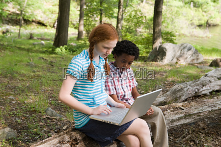 friends using a laptop in a