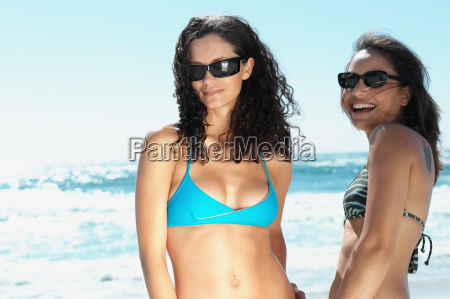 smiling women on beach