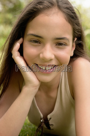 young girl smiling at camera
