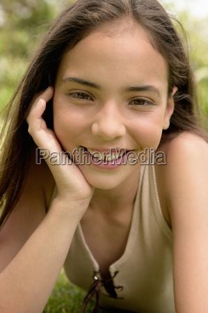 young, girl, smiling, at, camera - 18779372
