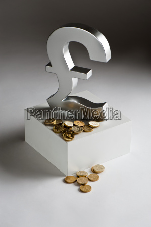 british pound symbol and coins