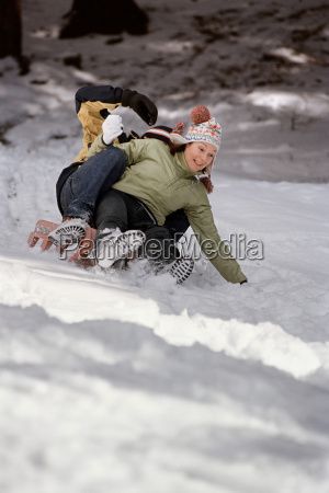 couple playing in snow