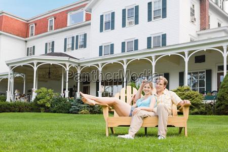 couple outside hotel