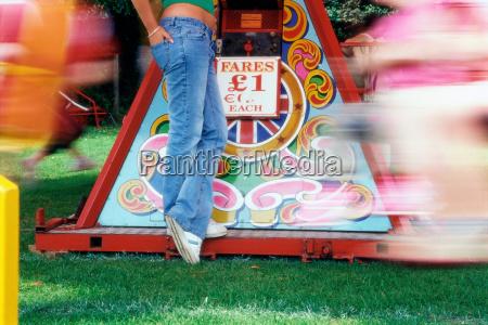woman at amusement park