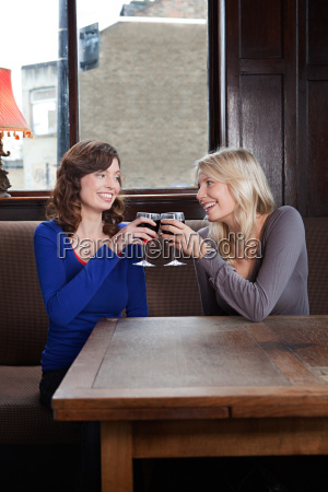 two, young, women, in, bar, toasting - 18788330