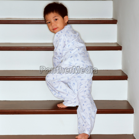 young boy on stairway